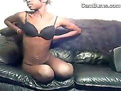 Skinny Ebony Nerd Playing Around