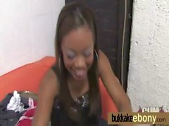 Hot ebony chick in interracial gangbang 22