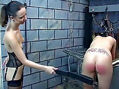 Sexy young bdsm teen girls are made to spank each another hard for master
