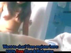 Bitch masturbates wet pussy in bathroom on webcam