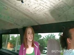 Adorable redhead talked into banging in bus