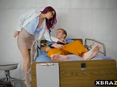 Prison nurse helps big dick inmate out with his huge boner