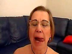 Granny in Glasses Toys and Sucks Cock
