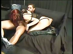 Redhead slut in high boots gets drilled