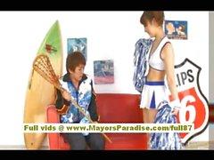 Risa Tsukino Asian girl in cheerleader gets licked