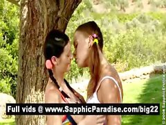 Angelic brunette and redhead lesbos kissing and licking pussy