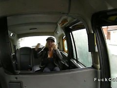 Busty British nymphomaniac fucking in fake taxi