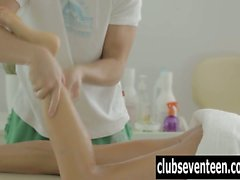 Teen gets fucked and cummed by masseur