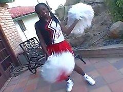 Ebony cheerleader loes to ride a hard cock