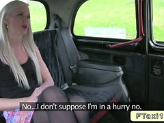 Blonde whore gags huge dick in fake taxi