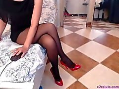 Legs in pantyhose webcam show - facetime girlfriend