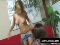 Zebra Girls - Ebony lesbian babes fuck deep strapon toys 16