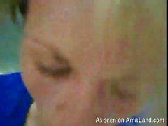 Blonde sucks cock and swallows cum