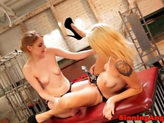 Strapon lesbians toying tight pussys together