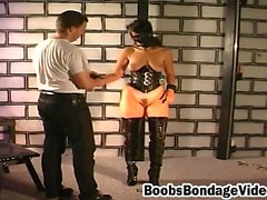 Blonde wife playing bondage with husband at the basement