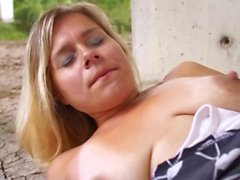 Cum swallowing innocent blonde convinced to fuck outdoors