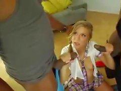 Блондинка с голубыми глазами, двойное проникновение межрасовые