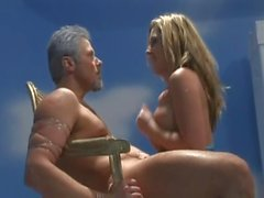 blonde babe with oiled ass fuck by old man