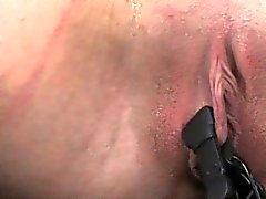 Over arm tie bondage session for slut