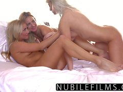 Blonde sorority sisters lesbian threesome