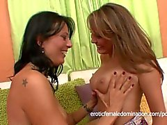 Tasty lesbian milfs with big tits play with each other