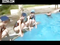 cute teen wear dissolve swimsuit in swimming pool 01