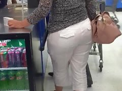 Mature white bbw white pants candid pt 2
