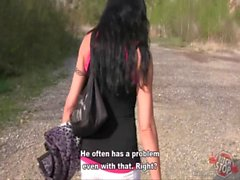 Bitch STOP - Skinny dark haired tattooed hooker fucked outdoor