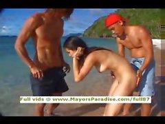 Maria Ozawa innocent pretty Chinese blowjob guys on the beach