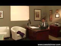 Naughty brunette secretary takes his cock for a ride on the couch at the office