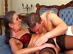 Hairy GILF gets both holes drilled