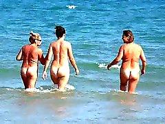 Three Spanish Women Walking into the Sea