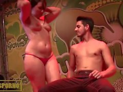 Hot brunette funny show on stage