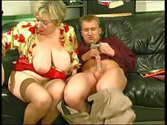 Chubby blonde granny uses her massive saggy tits for a titjob and gets nailed by young cock