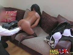 FakeAgentUK Sexy ebony chick takes a massive facial over her glasses