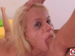 Deep oral sex with a blonde Russian and Cum shot in the mouth