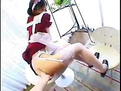 Sexy Asian maid gets felt up and gives her boss a nice blow