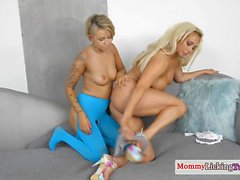 Busty milf rimmed by tattooed stepdaughter