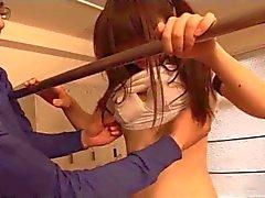 japanese schoolgirls (18 ) playing with her sport teacher