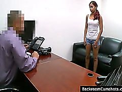 Amateur girl with nice tits fingered and fucked at interview in backroom office.
