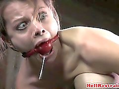 Gagged sub spaked hard until red raw