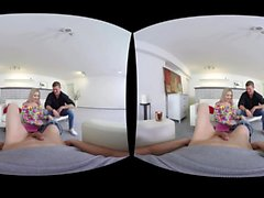 Blonde Teen gets fucked by two guys in VR