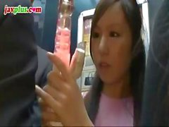 Amateur Japanese bimbo gets screwed in the kitchen and the elevator