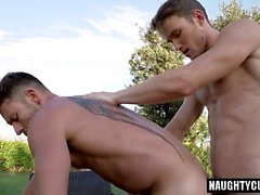 Tattoo boy ass to mouth with cumshot