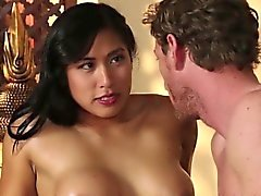 Asian babe rides masseur