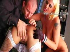 Brutal ass dildoing with secretaries