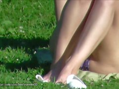 Candid Bikini Wearing Crotch Legs Feet Sunbathing Part 1