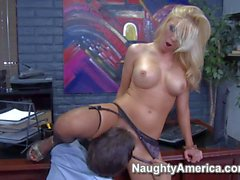 Horny blonde secretary Dylan gets some overtime