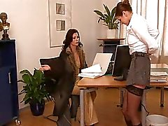 Secretary fucked by two workers