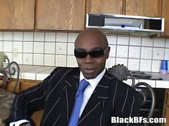 Black stud exposing his huge cock after some hot interview